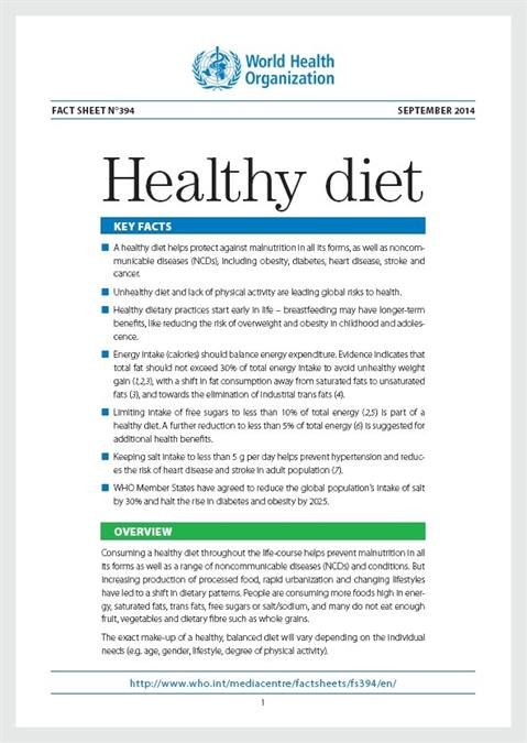 Fact Sheet On Healthy Diet