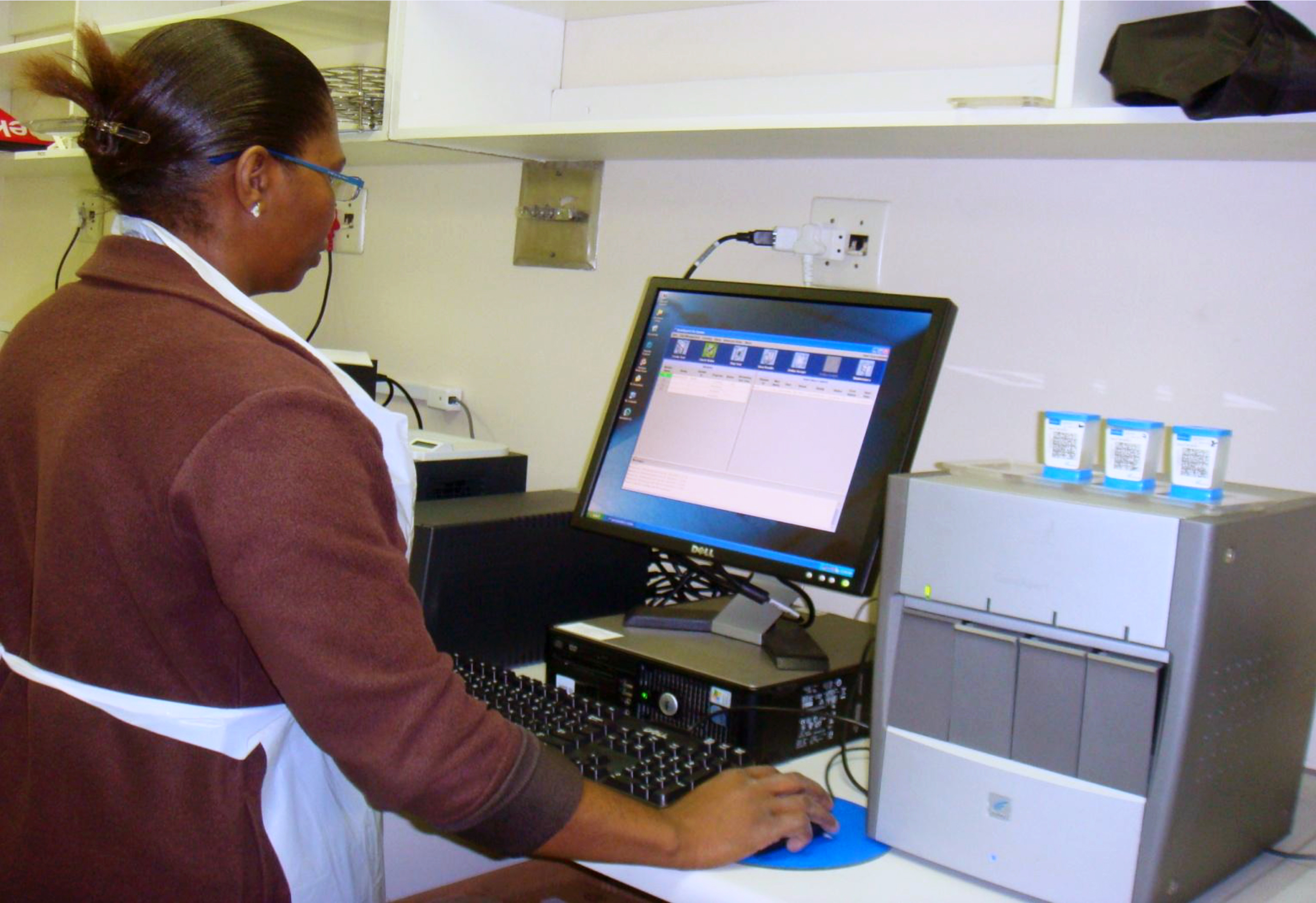 Laboratory staff in South Africa