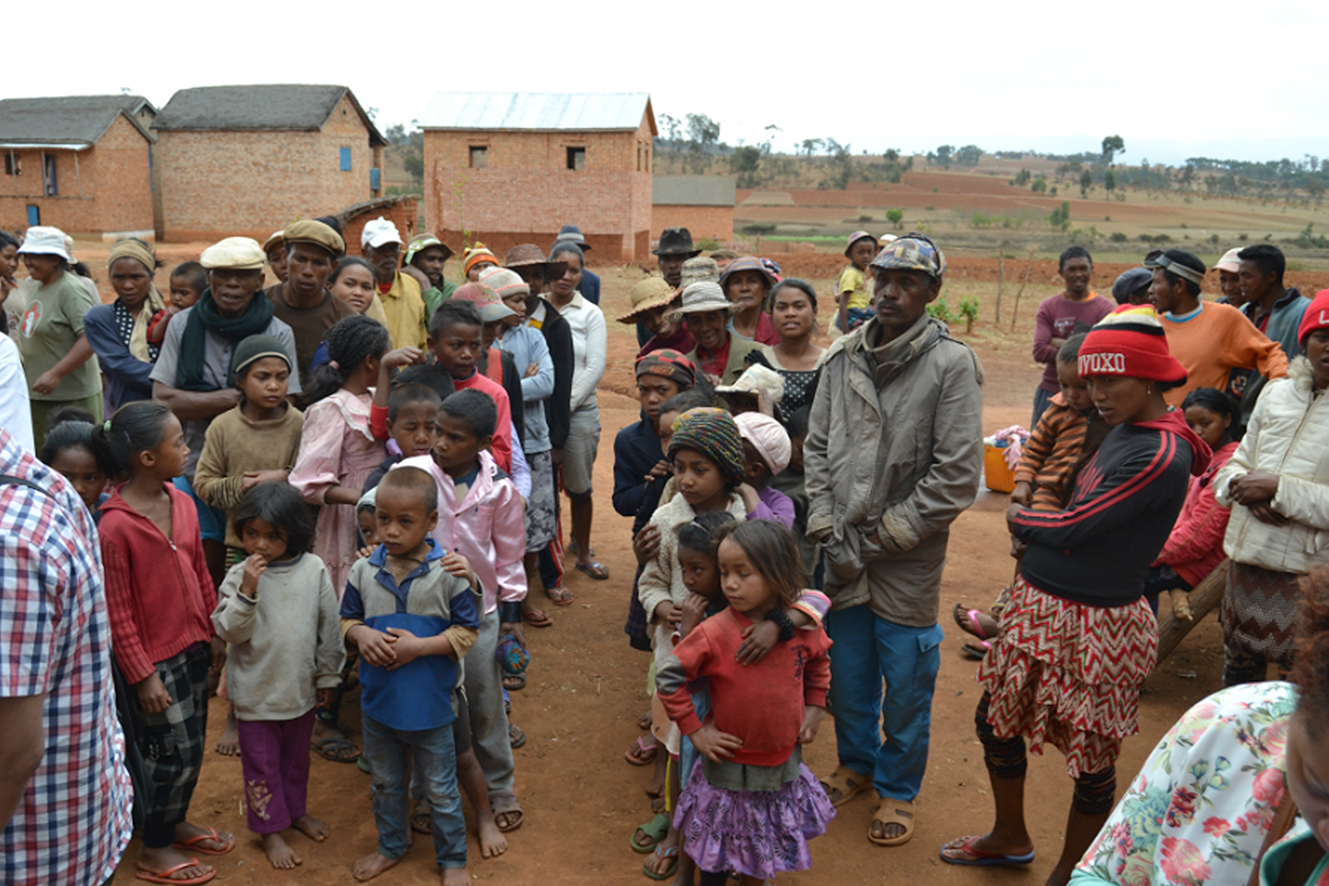 People in one of the 52 villages in Madagascar's Antanifotsy District waiting to be treated with praziquantel against taeniasis during a pilot project that ran from 2015-2017