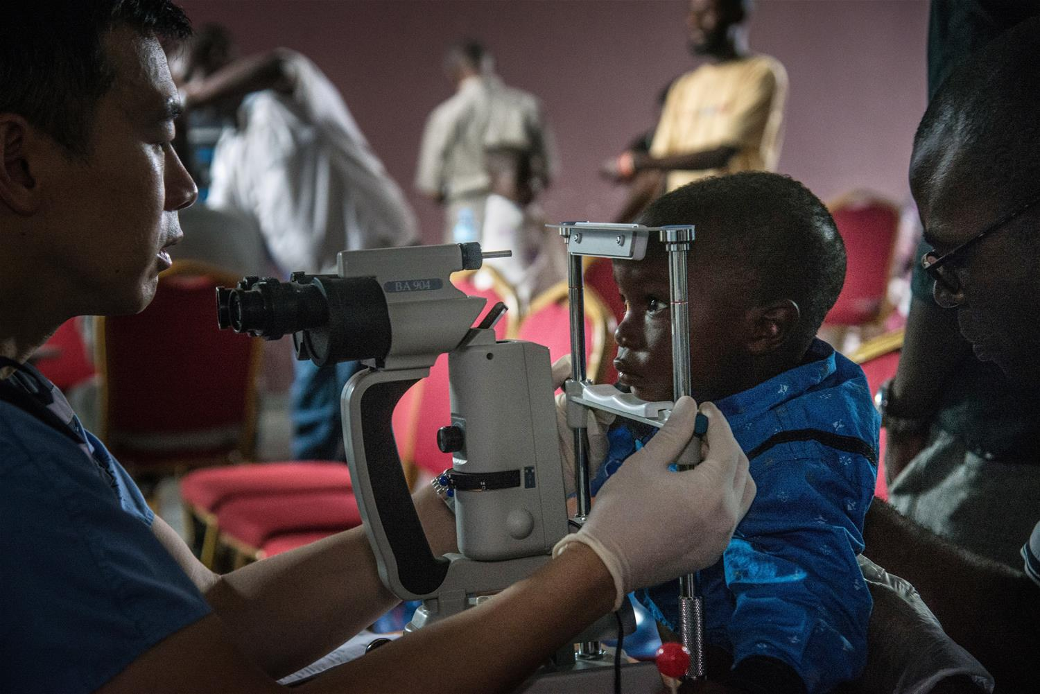 a baby eye examination with dr drc ebola