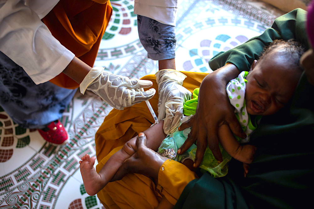 Routine immunization in Shibis mother and child health facility, Benadir region, Somalia.