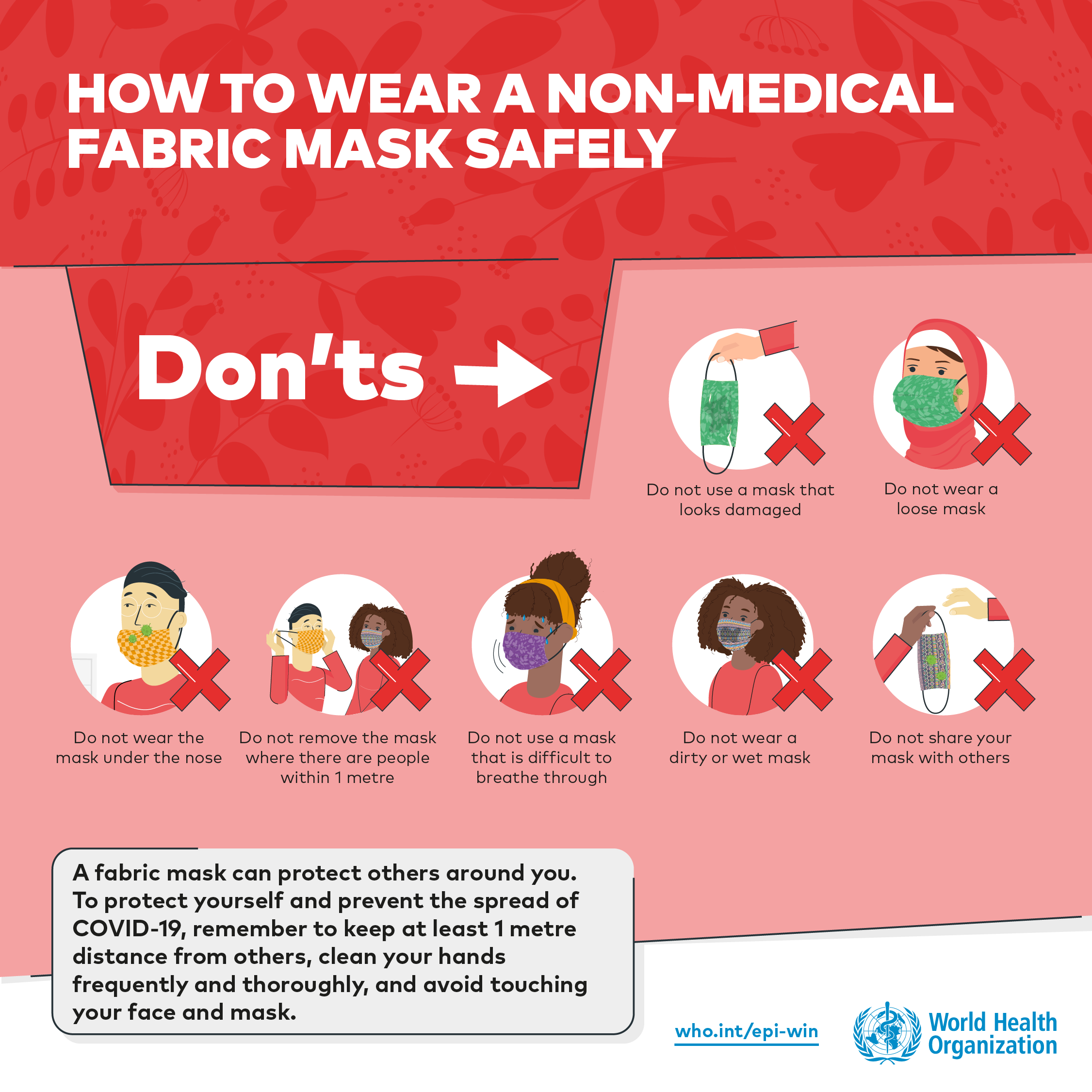 How to wear a non-medical fabric mask safely: The Don'ts