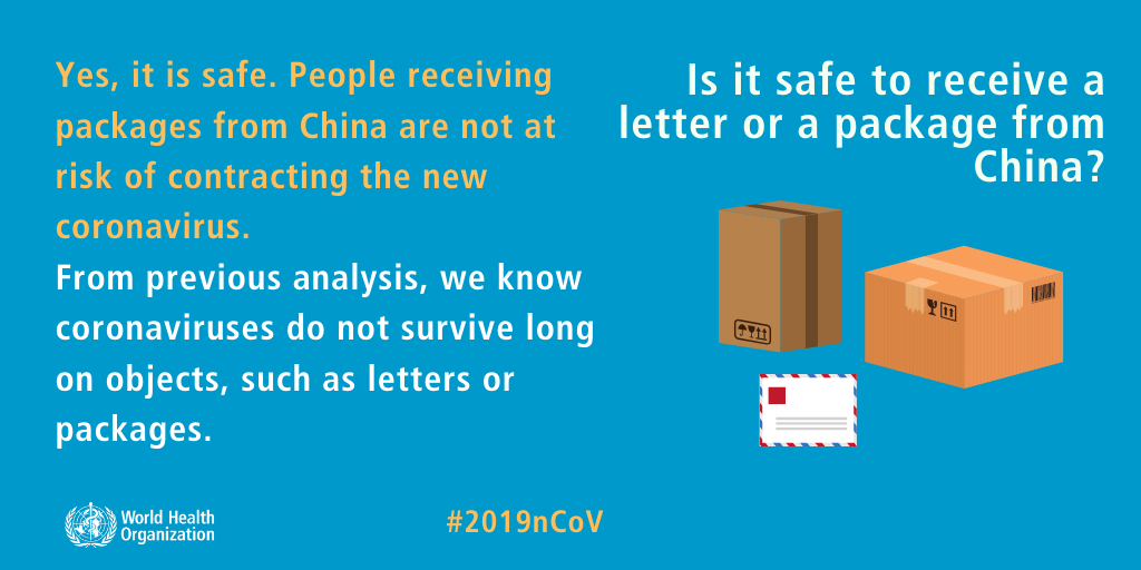 An illustrated image answering Is it safe to get a letter or a package from China?