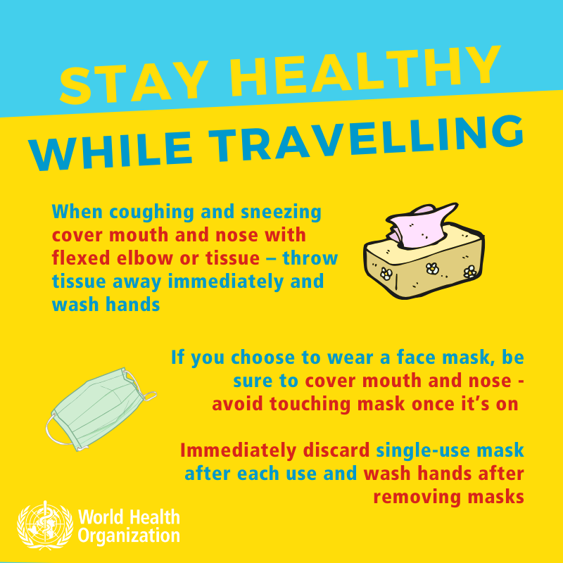 Stay Healthy While Traveling - slide 3 - When coughing and sneezing cover mouth and nose with flexed elbow and tissue - throw tissue away immediately and wash hands. If you choose to wear a face mask, be sure to cover mouth and nose - avoid touching mask once it's on. Immediately discard single-use mask after each use and wash hands after removing masks.