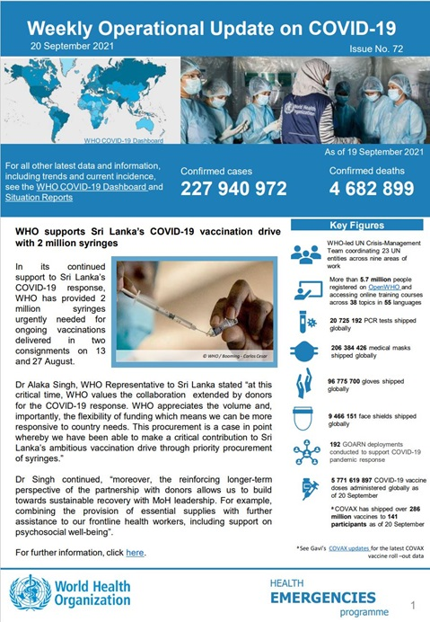 Weekly operational update on COVID-19 - 20 September 2021