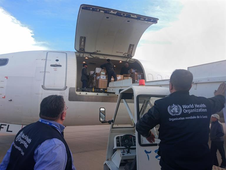 An airlift of 17 tonnes of health supplies for north-east Syria arrives in the city of Qamishli in February 2018