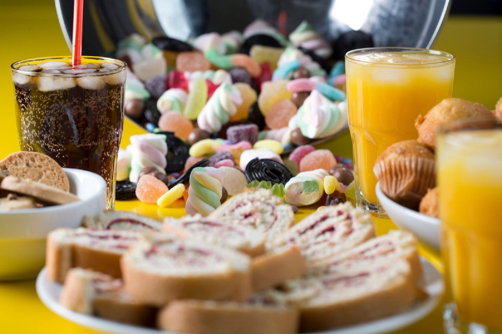 beverages and sweets with high amounts of sugars