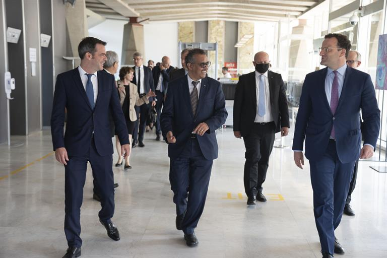 Dr Tedros hosts a visit from Jens Spahn, Federal Minister of Health, Germany and Olivier Veran, Minister for Solidarity and Health, France on Thursday 25 June 2020