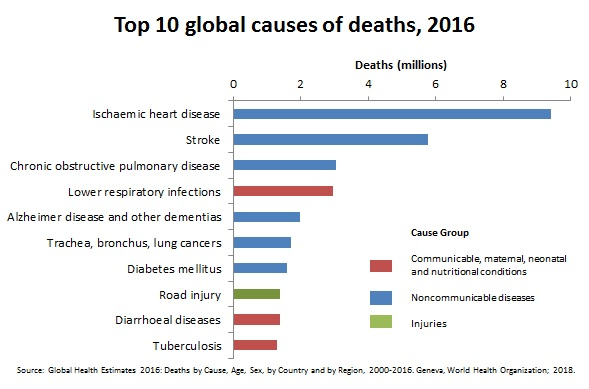 World Health Organization Global Causes of Deaths