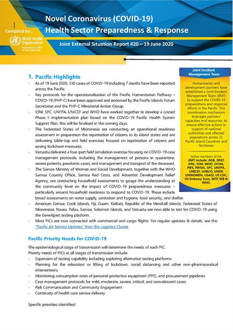 COVID-19 Joint external situation report for Pacific ...